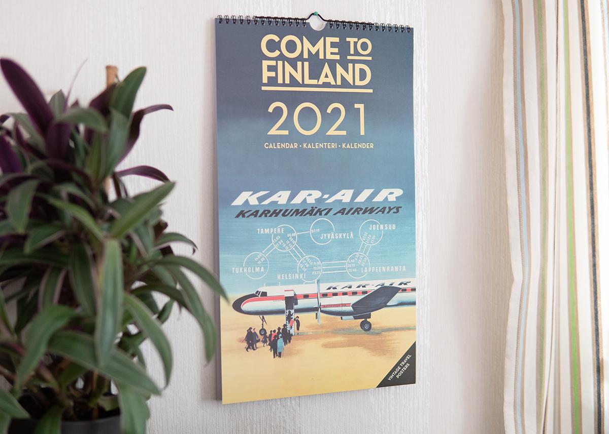 ビンテージのトラベル旅行ポスターデザインで人気のカムトゥフィンランドから、カレンダーが登場!!